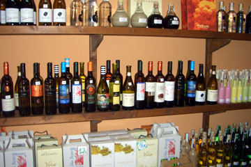 A selection of Albarinos in a merchant in Cambados