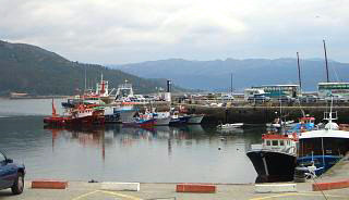 Muros harbour with fishing boats