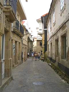 A narrow colonnaded street