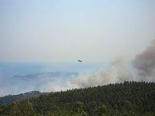 A fire at a viewing point near Pobra do Caraminal
