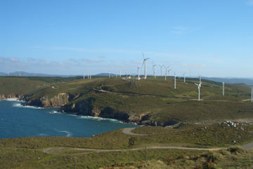 The coast and wind farms around the lighthouse