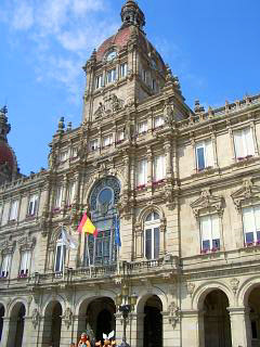 The Municipal palace in Maria Pita plaza