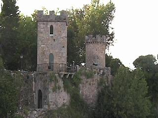 A close up of the towers of Santa Cruz castle