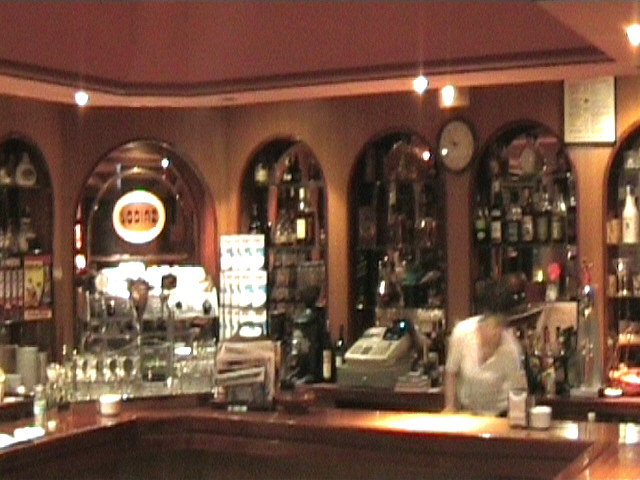 The bar of the pizzaria in Sarria