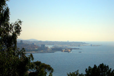 Looking out into the bay of Vigo with the city to the left