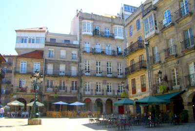 A plaza in the old town of Vigo city